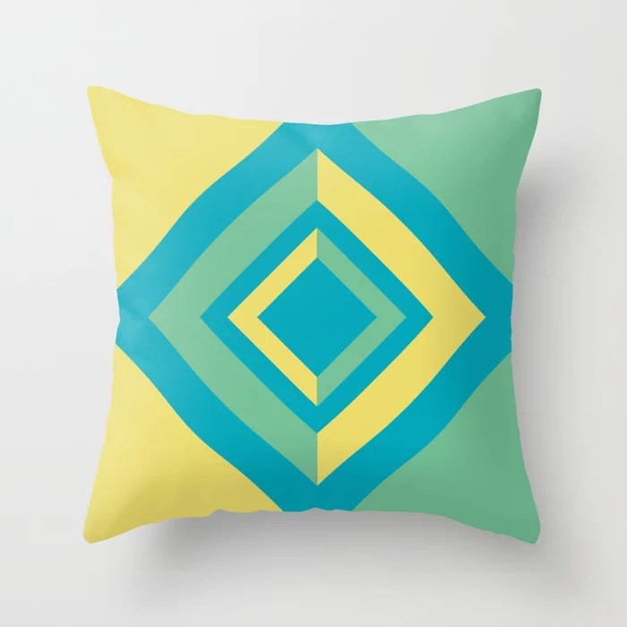 Aqua Green Yellow Diamond Minimal Illustration 2021 Color of the Year AI Aqua and Accent Shades Throw Pillow