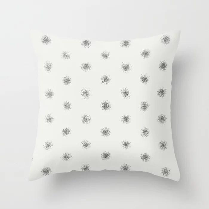 Brown Off-White Splatter Brush Polka Dot Pattern 2021 Color of the Year Urbane Bronze & Extra White Throw Pillow