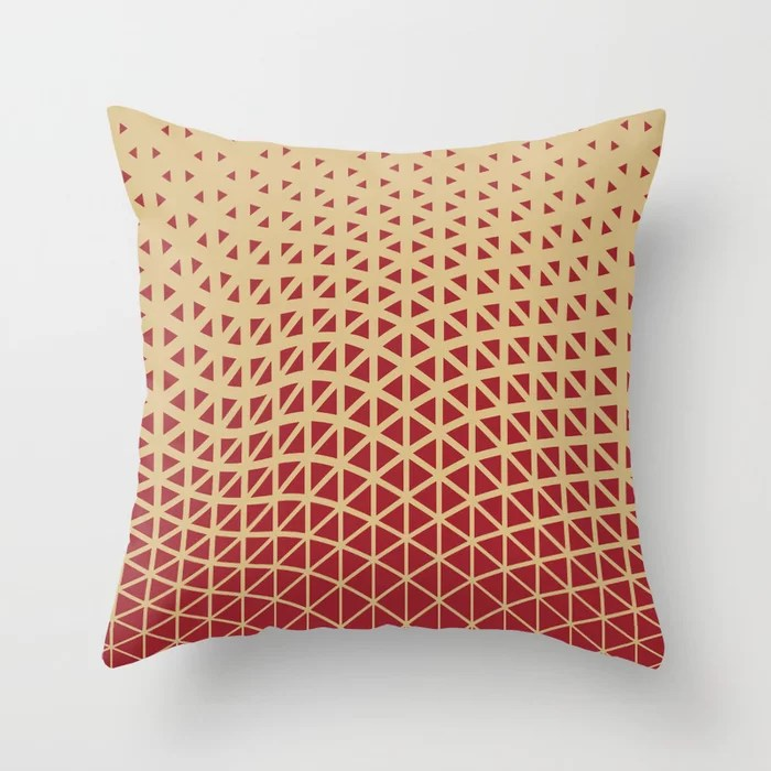 Red and Beige Geometric Wave Pattern 2021 Color of the Year Satin Paprika and Sunlit Brass Throw Pillow