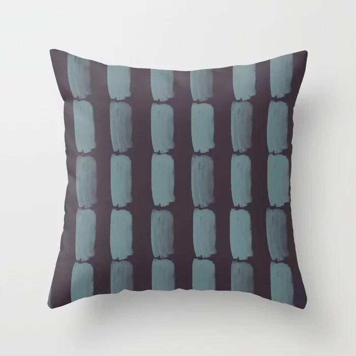 Blue-Green Purple Minimal Grid Brushstroke Pattern 2021 Color of the Year Aegean Teal Tulsa Twilight Throw Pillow