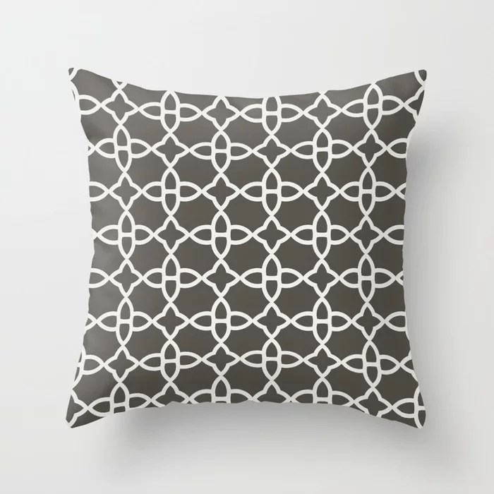 Brown and White Minimal Line Art Pattern 4 V2 2021 Color of the Year Urbane Bronze and Extra White Throw Pillow