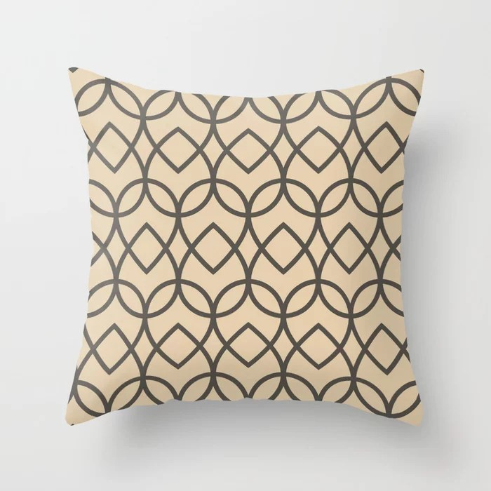 Brown and Tan Geometric Line Pattern Teardrop Throw Pillows Match and coordinate with Sherwin Williams Paints 2021 Color of the Year Urbane Bronze and Ivoire