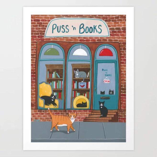 Puss n Books Shop Cats Art Print