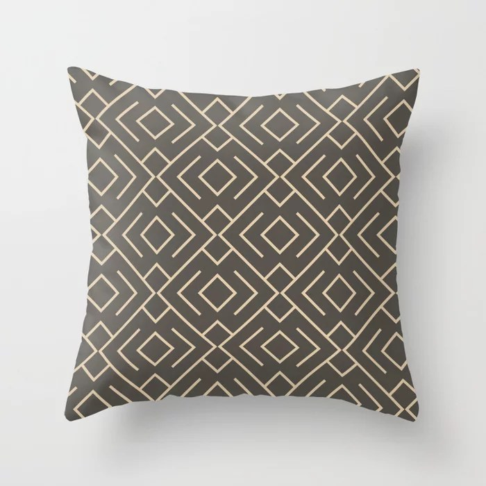Brown And Buff Beige Abstract Shape Pattern 4 Throw Pillow Matches Sherwin Williams Paints 2021 Color of the Year Urbane Bronze and Ivoire