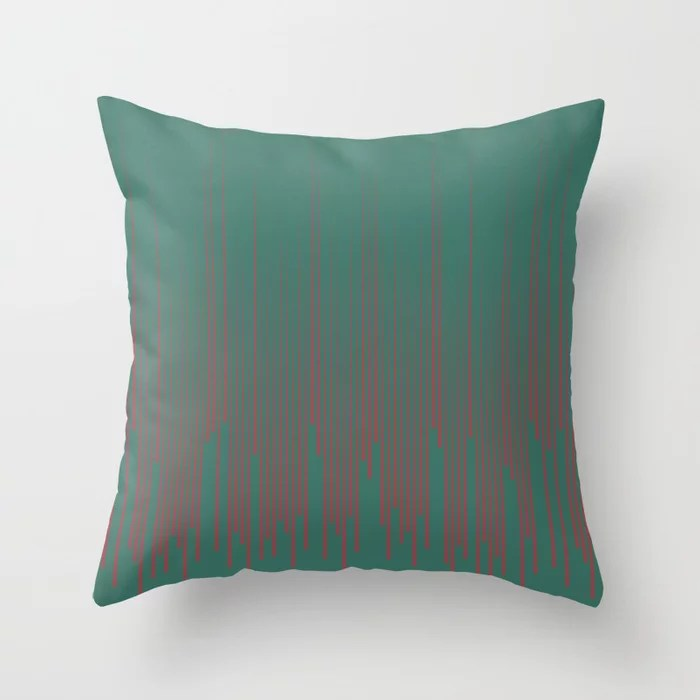 Red Dark Green Frequency Line Art Pattern 2021 Color of the Year Passionate and Cloverfields Throw Pillow