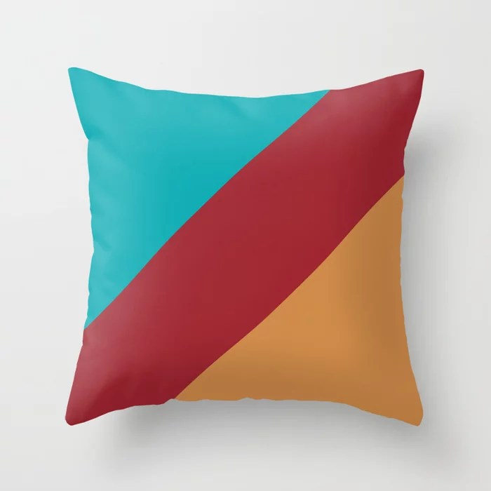 Red Orange-brown Aqua Diagonal Stripe Design 2021 Color of the Year Satin Paprika and Accent Shades Throw Pillow