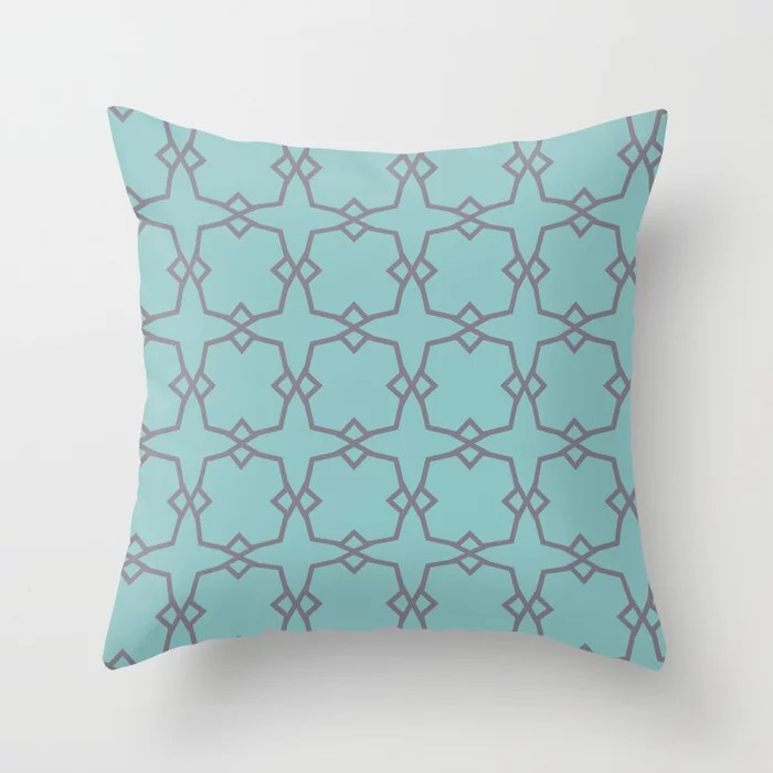 Aquamarine and Purple Line Pattern 30 Pairs 2021 Color of the Year Aqua Fiesta and Magic Dust Throw Pillow