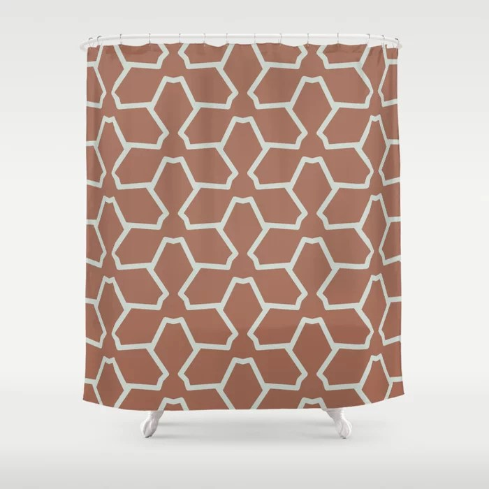 Mint Green and Terracotta Tessellation Pattern 12 Behr 2022 Color of the Year Breezeway MQ3-21 Shower Curtain. 2022 color trend