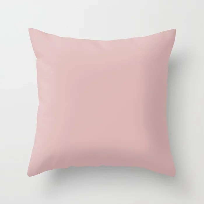Trendsetter Light Pastel Pink Solid Color (Hue / Shade) Matches Sherwin Williams Rose Colored SW6303 Throw Pillow