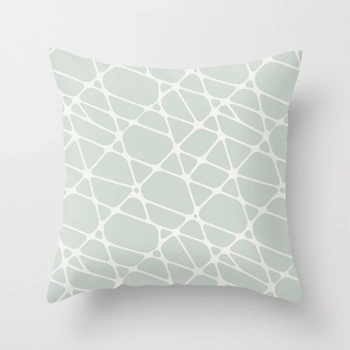 Pastel Green and Cream Abstract Mosaic Pattern 2 Pairs Behr 2022 Color of the Year Breezeway MQ3-21 Throw Pillow. 2022 color scheme, trending interior design hue.