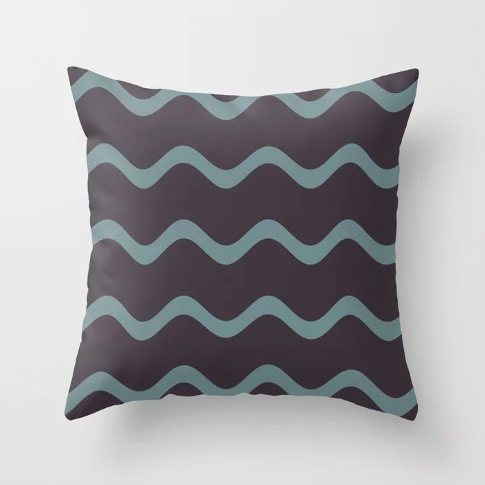 Muted Aqua and Purple Rippled Stripe Pattern 2021 Color of the Year Aegean Teal and Tulsa Twilight Throw Pillow