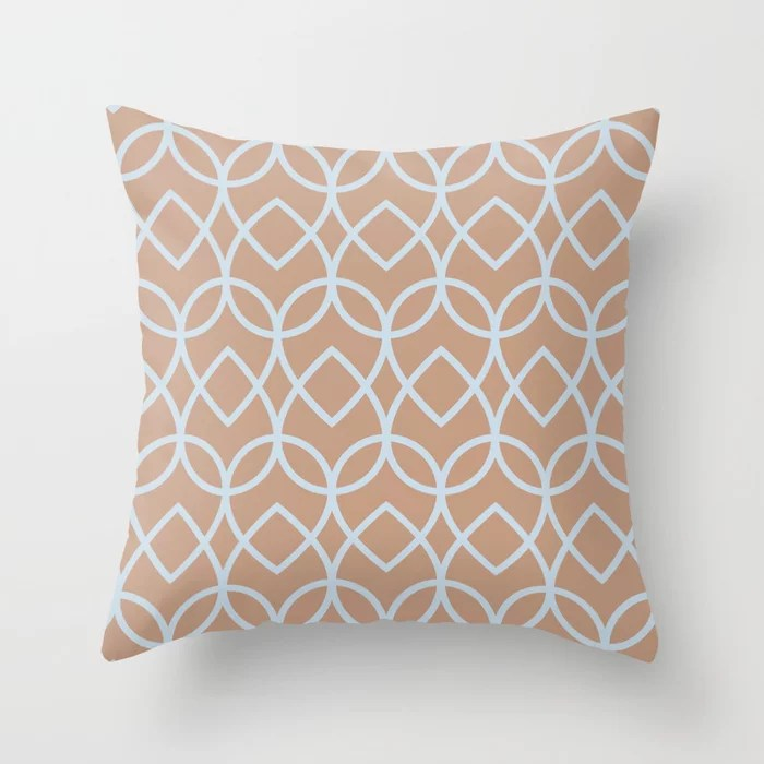 Sand Beige Light Pastel Blue Teardrop Pattern 2021 Color of The Year Canyon Dusk Blue Me Away Throw Pillow