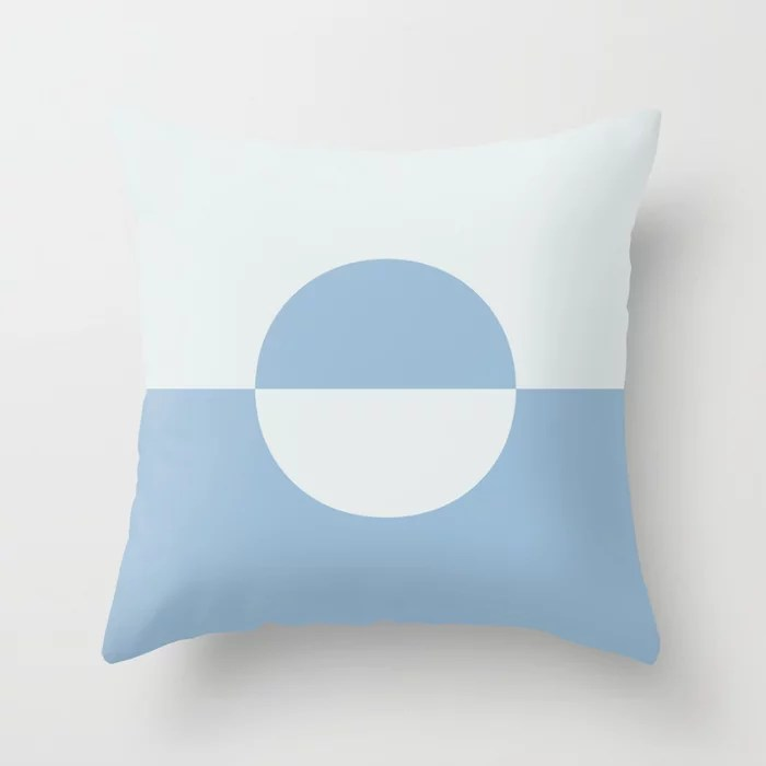 Pastel and Blue White Minimal Circle Design 2 Throw Pillows inspired by and pairs to (matches / coordinates with) Dutch Boy 2021 Color of the Year Earth's Harmony and Cooled Breeze