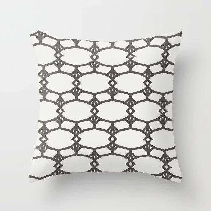 Dark Brown Off-White Ornamental Shape Pattern 5 2021 Color of the Year Urbane Bronze & Extra White Throw Pillow