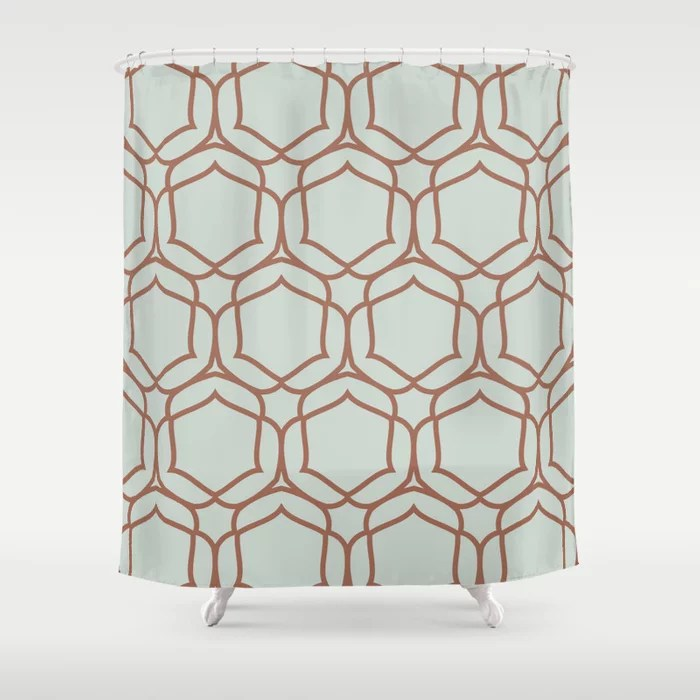 Pastel Green and Clay Shape Tile Pattern 2 Pairs Behr 2022 Color of the Year Breezeway MQ3-21 Shower Curtain. 2022 color trend