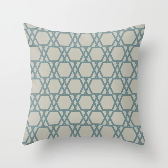Soft Aqua Blue Tan Tessellation Line Pattern 20 2021 Color of the Year Aegean Teal and Winterwood Throw Pillow