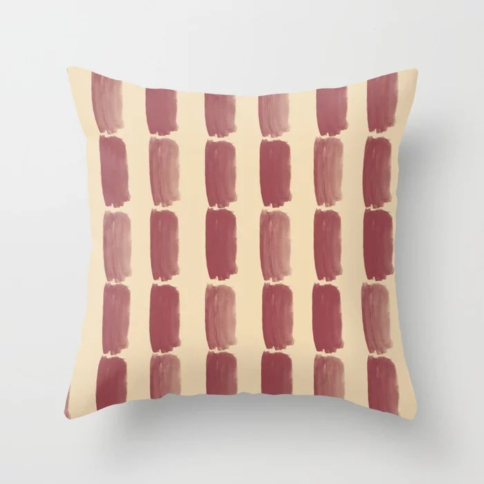 Red and Light Beige Grid Brushstroke Pattern 2021 Color of the Year Passionate & Diamond Weave Throw Pillow