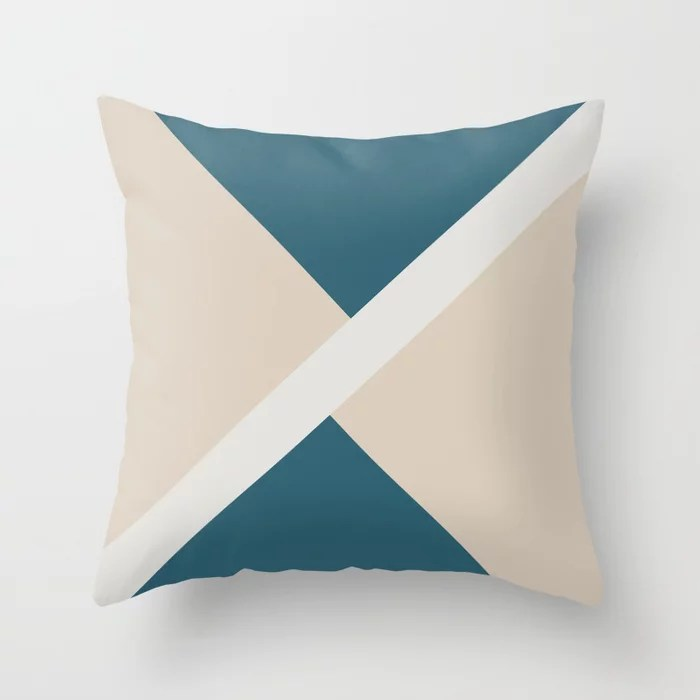 Beige Aqua Blue White Stripe Offset Shape Design: Hues were inspired by and match (pair / coordinate with) 2021 Color of the Year Uptown Ecru & Accent Shade Throw Pillow
