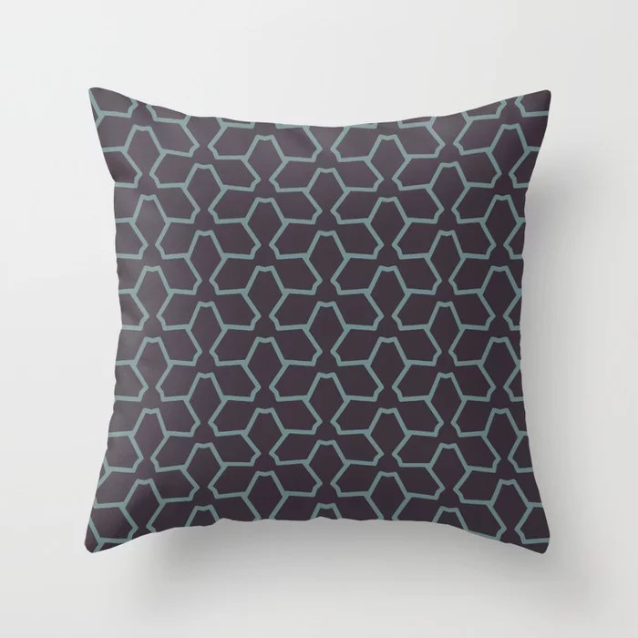 Blue-Green Purple Line Pattern 12 Abstract Flower 2021 Color of the Year Aegean Teal Tulsa Twilight Throw Pillow