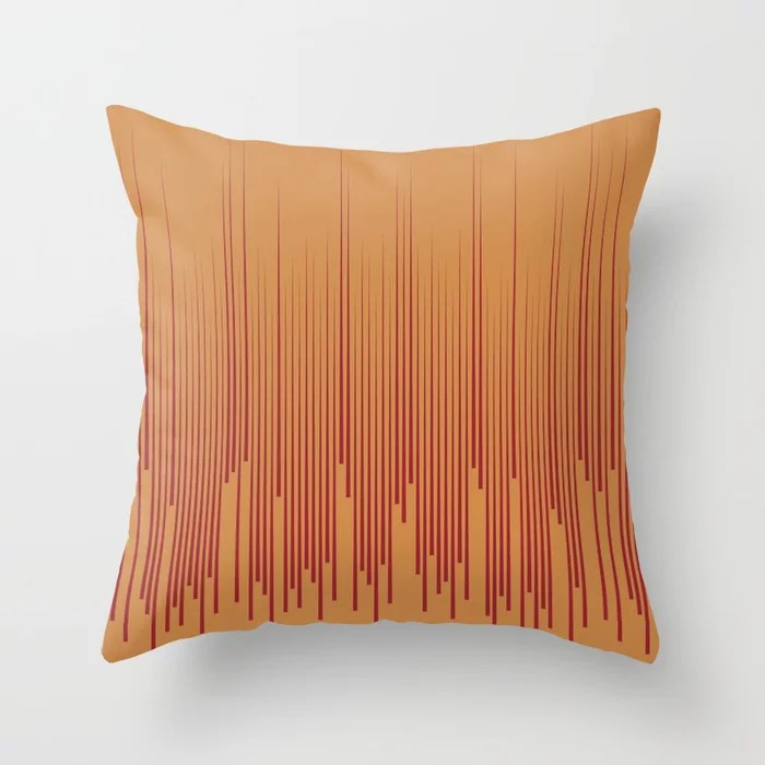 Red and Orange-Brown Minimal Line Art Pattern 2021 Color of the Year Satin Paprika & Warm Caramel Throw Pillow