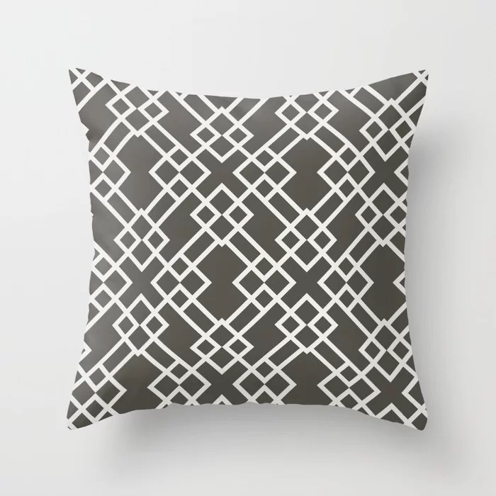 Brown and White Minimal Line Art Pattern V2 2021 Color of the Year Urbane Bronze and Extra White Throw Pillow