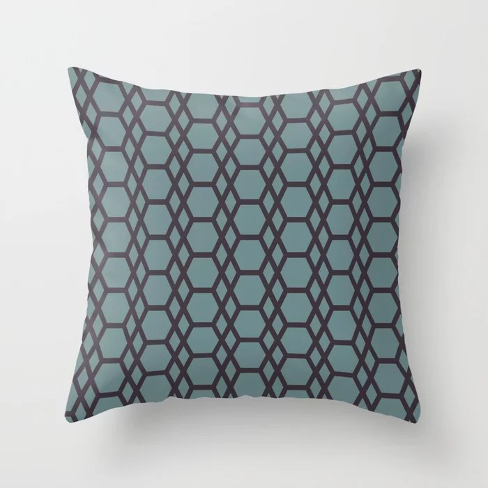 Muted Aqua and Purple Abstract Hexagons Diamonds 2021 Color of the Year Aegean Teal & Tulsa Twilight Throw Pillow