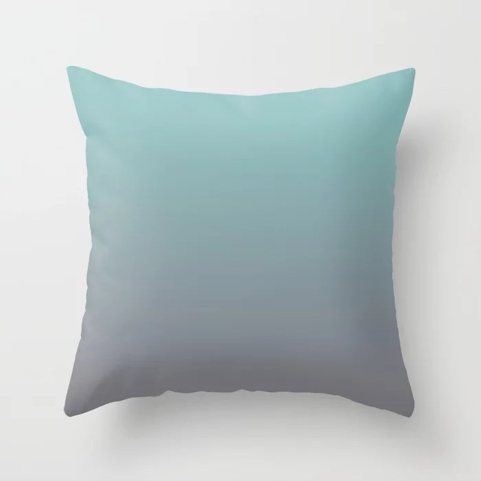Pastel Teal and Purple Gradient Ombre Blend 2021 Color of the Year Aqua Fiesta and Magic Dust Throw Pillow