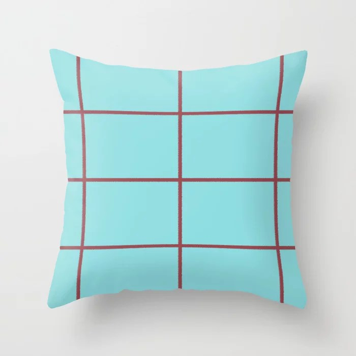 Red Pastel Blue Abstract Check Line Pattern Pairs HGTV 2021 Color of the Year Passionate Throw Pillow