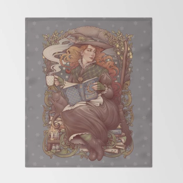 NOUVEAU FOLK WITCH Throw Blanket by Medusa Dollmaker