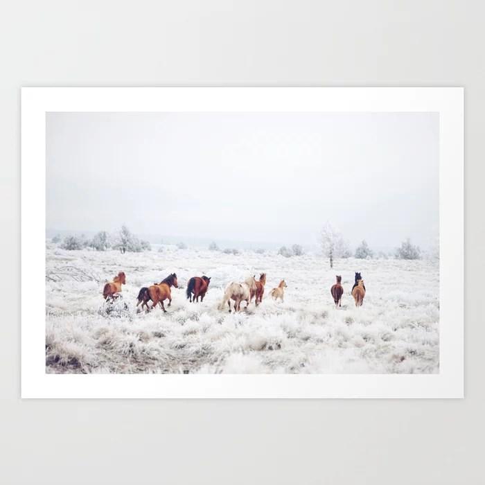 Sunday's Society6 | Winter wonderland horses in snow art print