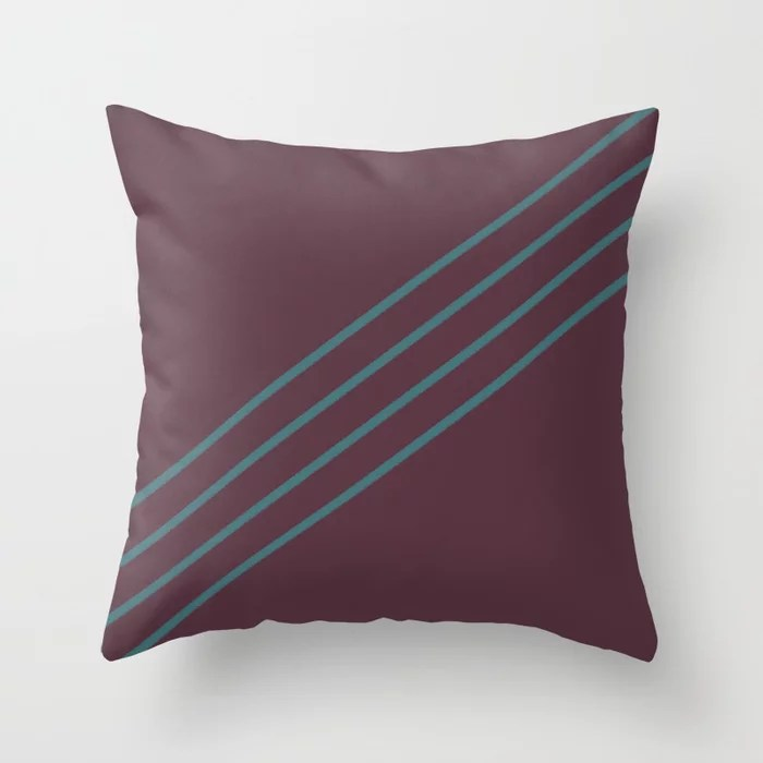 Deep Purple Aqua Stripe Diagonal Pattern Pairs 2021 Color of the Year Epoch and Whale Tail Throw Pillow