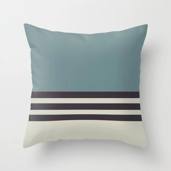 Blue-Green Beige Purple Horizontal Stripe Pattern 2021 Color of the Year Aegean Teal Accent Shades Throw Pillow
