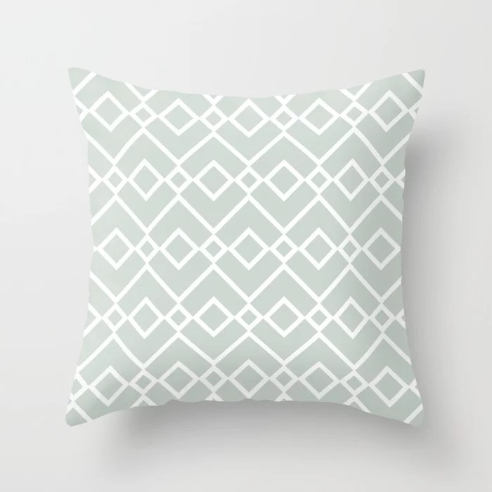 Mint Green and White Tessellation Pattern 23 Behr 2022 Color of the Year Breezeway MQ3-21 Throw Pillow. 2022 color scheme, trending interior design hue.
