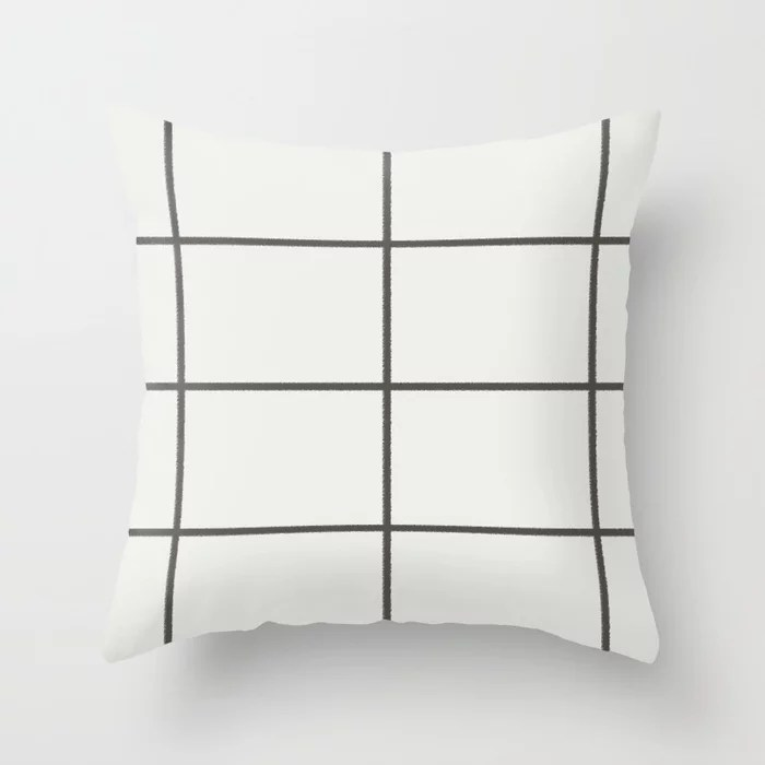 Dark Brown Off-White Thin Line Check Pattern 2021 Color of the Year Urbane Bronze & Extra White Throw Pillow