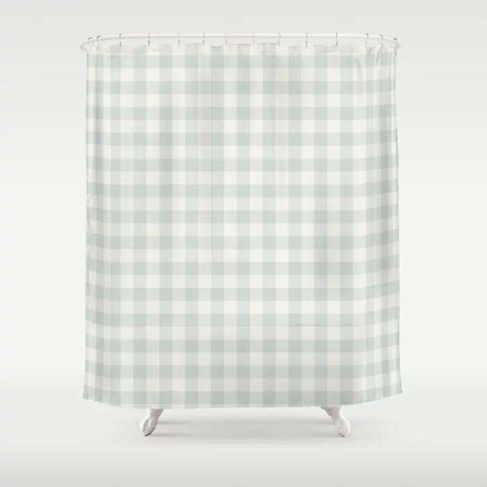 Pastel Green and Cream Buffalo Plaid Pairs Behr 2022 Color of the Year Breezeway MQ3-21 Shower Curtain. 2022 color trend