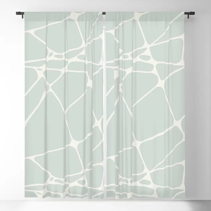 Pastel Green and Cream Abstract Mosaic Pattern 1 Pairs Behr 2022 Color of the Year Breezeway MQ3-21 Blackout Curtain. Decorating colors for 2022