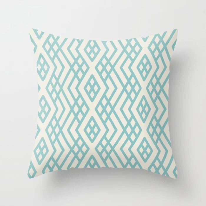 Aquamarine Cream Geometric Mosaic Pattern 3 2021 Color of the Year Aqua Fiesta and Horseradish Throw Pillow