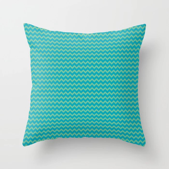Aqua Blue and Green Chevron Zigzag Pattern 2021 Color of the Year AI Aqua and Quiet Wave Throw Pillow