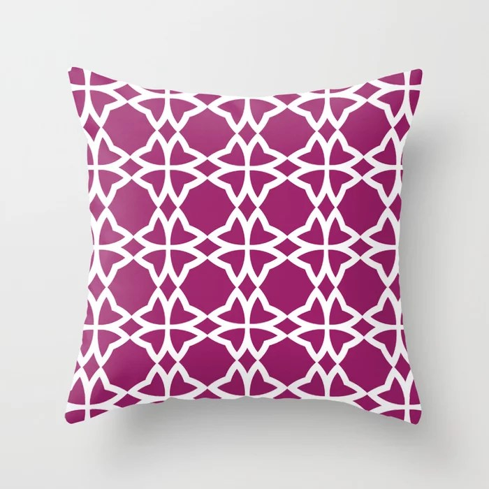 Magenta and White Symmetrical Flower Pattern - Colour of the Year 2022 Orchid Flower 150-38-31 Throw Pillow