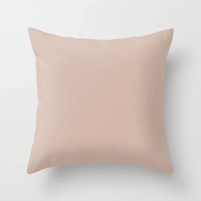 Pale Rose Taupe Solid Color Pairs Sherwin Williams Heart 2020 Forecast Color Likeable Sand SW 6058 Throw Pillow