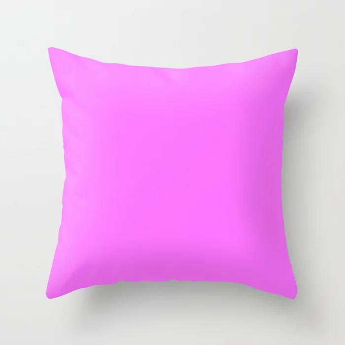 From The Crayon Box – Pink Flamingo - Bright Pink Purple Solid Color Throw Pillow