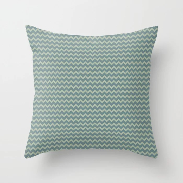 Muted Aqua and Green Chevron Stripe Pattern 2021 Color of the Year Aegean Teal & Salisbury Green Throw Pillow