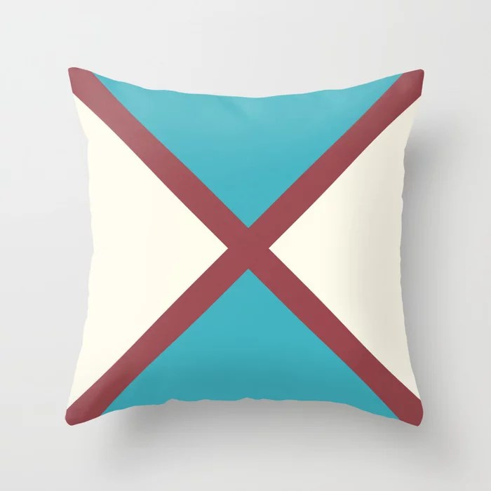 Red Aqua Off White Minimal Line Pattern Pairs HGTV 2021 Color of the Year Passionate Throw Pillow