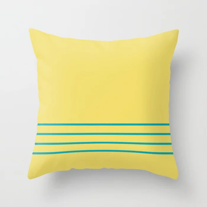 Blue-Green Yellow Minimal Sponge Stripe Pattern 2021 Color of the Year AI Aqua 098-59-30 Throw Pillow