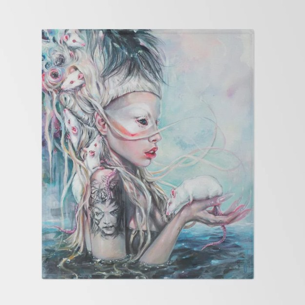 Yolandi The Rat Mistress Throw Blanket by Tanya Shatseva