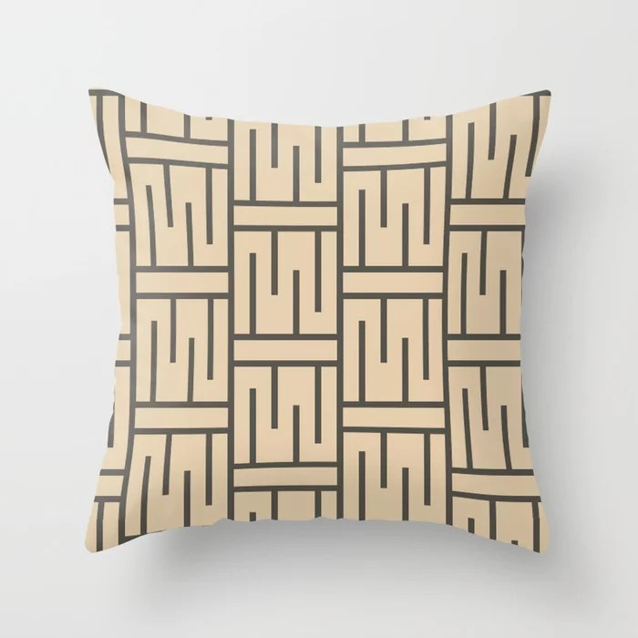 Brown And Buff Beige Minimal Line Art Pattern 3 Throw Pillows Match and coordinate with Sherwin Williams Paints 2021 Color of the Year Urbane Bronze and Ivoire