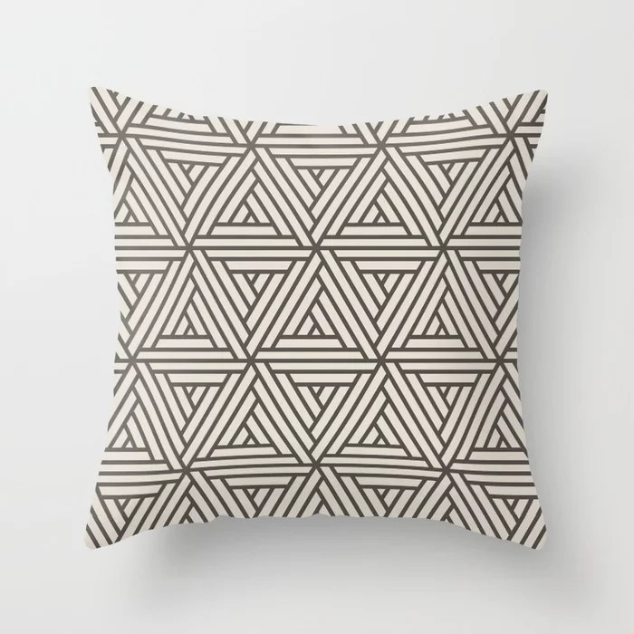 Brown And Cream Abstract Geometric Shape Pattern 2 Throw Pillow Matches Sherwin Williams Paints 2021 Color of the Year Urbane Bronze Shoji White