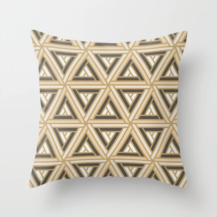 Earth Tones Abstract Geometric Shape Pattern 2 Throw Pillow Matches Sherwin Williams Paints  2021 Color of the Year Urbane Bronze and Accent Shade