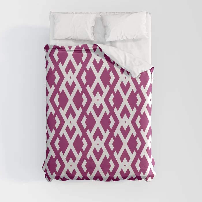 Magenta and White Diamond Vertical Zig Zag Pattern - Colour of the Year 2022 Orchid Flower 150-38-31 Duvet Cover - color for 2022