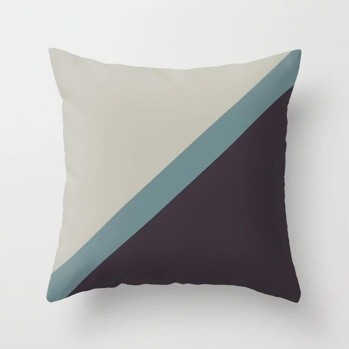 Muted Aqua Purple and Tan Line Pattern 2021 Color of the Year Aegean Teal & Accent Shades Throw Pillow